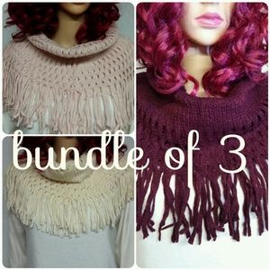 Accessories - Knit Infinity Scarfs with Tassels